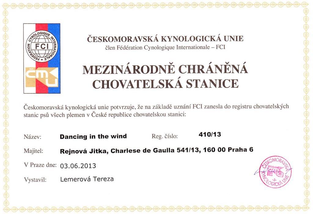 Certifikát přidělení názvu chovatelské stanice Dancing in the Wind